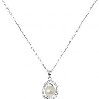 Lucardi Kettingen - Zilveren ketting&hanger parel zirkonia
