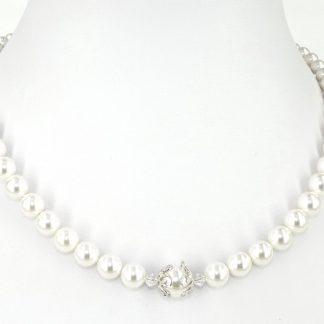 KAYEE - Parelketting wit van Swarovski parels - 42cm