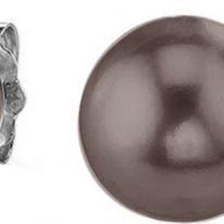 Silventi 921144205 Zilveren Licht Bruine pareloorknopjes - Zilver - Parel - 6mm - Licht Bruin - Zilverkleurig