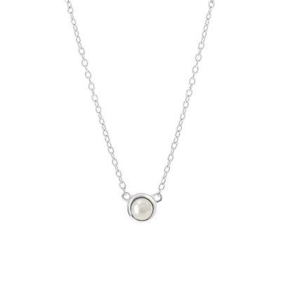 Zilveren ketting met Swarovski parel