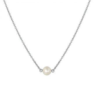 Zilveren ketting met hanger parel